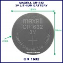Maxell CR1632 3V Lithium battery for use in remote control
