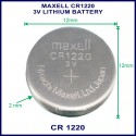Maxell CR1220 3V Lithium battery for use in remote control
