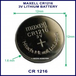 Maxell CR1216 3V Lithium battery for use in remote control