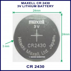 Maxell CR2430 3V Lithium battery for use in remote control
