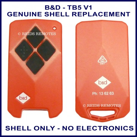 B&D TB5 V1- 4 black button garage remote replacement shell ONLY