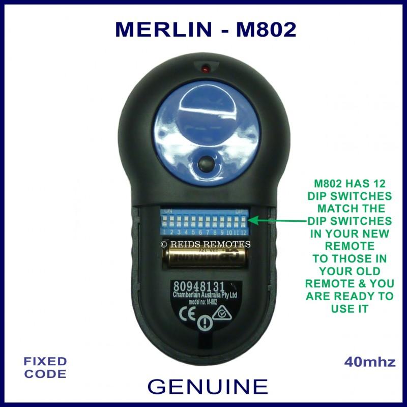 Merlin M802 Large Blue Button 12 Dip Switch Garage Amp Gate