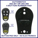 Auto Watch 204-308 4 button car alarm remote replacement button pad only