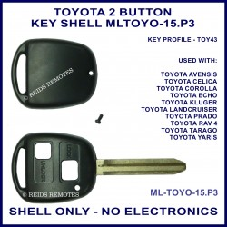 Toyota 2 button key shell for Corolla Echo Prado Rav 4 Yaris and more