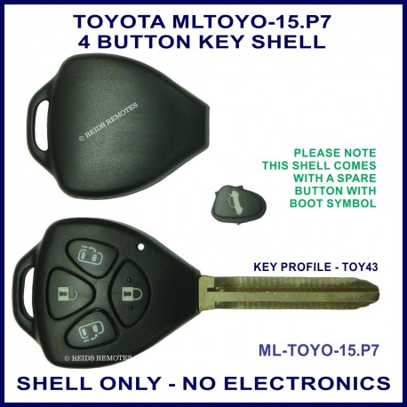 Toyota Tarago & Estima 4 button triangle shaped key shell with lock unlock boot and or slide door
