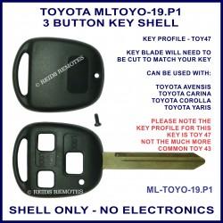 Toyota 3 button key shell for Avensis Carina Corolla & Yaris TOY 47 key blade
