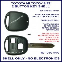 Toyota 2 button key shell for Avensis Carina Corolla & Yaris TOY 47 key blade