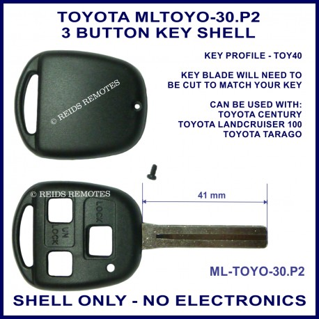 Toyota Landcruiser 100 series & Tarago 3 button key shell replacement