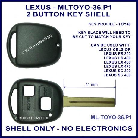 Lexus Celsior ES300 LS400 LX450 LX470 SC300 SC400 2 button key shell replacement