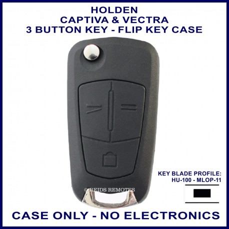 Holden Captiva & Vectra 3 button flip key shell only - no electronics