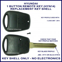 Hyundai I Load remote key shell with 1 button on side of shell - HYN-14