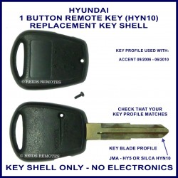 Hyundai Accent 2006 - 2010 remote key shell with 1 button on side of shell - HYN-10