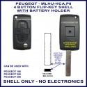 Peugeot 106 - 206 - 306 - 4 button flip key shell with battery holder in back of shell - no electronics