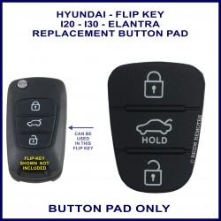 Hyundai i20 & i30 3 button flip key rubber button pad
