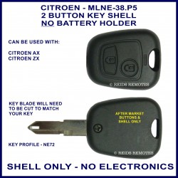 Citroen AX - ZX - 2 button remote key shell only - no electronics