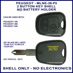 Peugeot 106 - 206 - 306 - 2 button remote key shell only - NE72 - no electronics