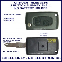 Citroen AX - ZX - 2 button flip key shell only NE72 type - no electronics