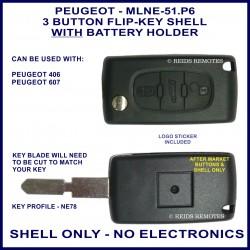 Peugeot 406 & 607 - 3 button flip key shell NE78 key profile with battery holder - no electronics
