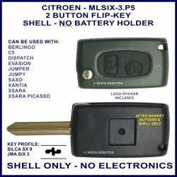 Citroen Berlingo C5 Dispatch Xsara - 2 button flip key shell only - no electronics