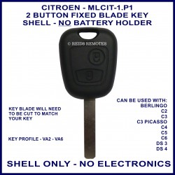 Citroen C2, C3 Picasso, C4, C5, C6, DS3 & DS4 - 2 button remote key shell only - no electronics