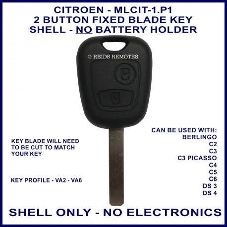 Citroen Berlingo C2 C3 C4 C5 C6 DS3 DS4 2 button remote key shell