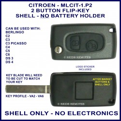 Citroen C2, C3 Picasso, C4, C5, C6, DS3 & DS4 - 2 button flip key shell - no battery holder or electronics
