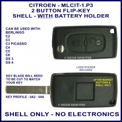 Citroen C2, C3 Picasso, C4, C5, C6, DS3 & DS4 - 2 button flip key shell with battery holder - no electronics