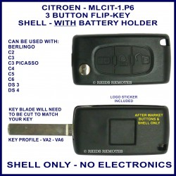 Citroen C2, C3 Picasso, C4, C5, C6, DS3 & DS4 - 3 button flip key shell with battery holder - no electronics