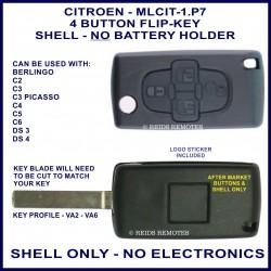 Citroen C2, C3 Picasso, C4, C5, C6, DS3 & DS4 - 4 button flip key shell without battery holder - no electronics