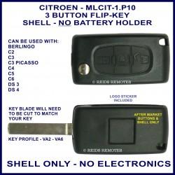 Citroen C2, C3 Picasso, C4, C5, C6, DS3 & DS4 - 3 button flip key shell without battery holder - no electronics