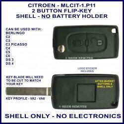 Citroen C2, C3 Picasso, C4, C5, C6, DS3 & DS4 - 2 button flip key shell without battery holder - no electronics