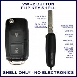 VW 2 button flip key replacement shell