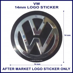 VW 14 mm logo sticker for use on flip keys