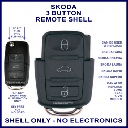 Skoda 3 button flip key remote case section replacement
