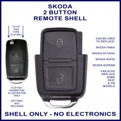 Skoda 2 button flip key remote case section replacement