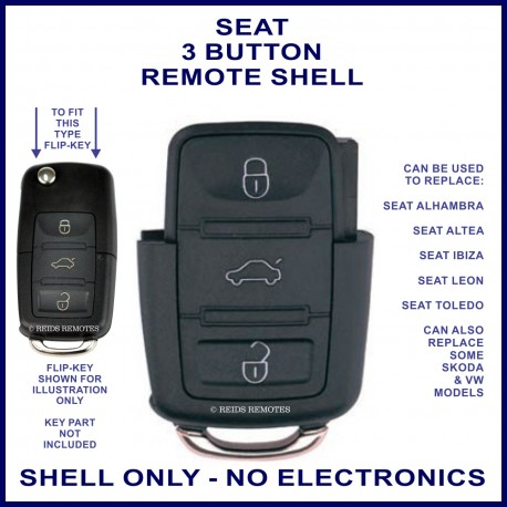 Seat 3 button flip key remote case section replacement