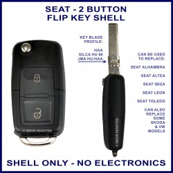 Seat 2 button flip key replacement shell
