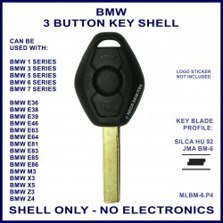 BMW 1 3 5 6 7 series, X3 X5 Z3 & Z4 replacement key shell - no electronics