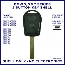 BMW 3 5 7 series, M3 X3 X5 & Z4 E36 E38 E39 E46 2 button key shell - no electronics