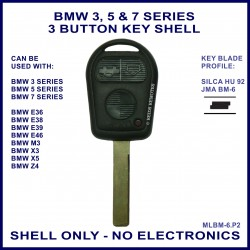 BMW 3 5 7 series, M3 X3 X5 & Z4 E36 E38 E39 E46 3 button key shell - no electronics