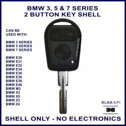 BMW 3 5 7 series, M3 X3 X5 Z3 & Z4 E30 E31 E32 E34 E36 E38 E39 E46 3 button key shell - no electronics