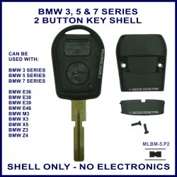 BMW 3 5 7 series, M3 X3 X5 Z3 & Z4 E36 E38 E39 E46 2 button key shell - no electronics