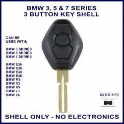 BMW 3 5 7 series, M3 X3 X5 Z3 & Z4 E36 E38 E39 E46 3 button key shell - no electronics