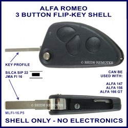 Alfa Romeo 147 156 166GT - 3 button flip key shell - no electronics