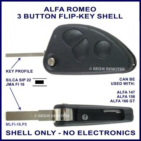 Alfa Romeo 147 156 166GT - 3 button flip key shell - no electronics