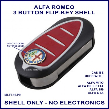 Alfa Romeo Guilietta Mito 159 & GTA - 3 button flip key shell - no electronics