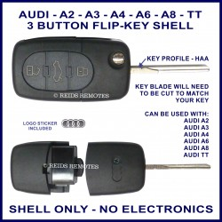 Audi A2 A3 A4 A6 A8 & TT - 3 button flip key shell - no electronics