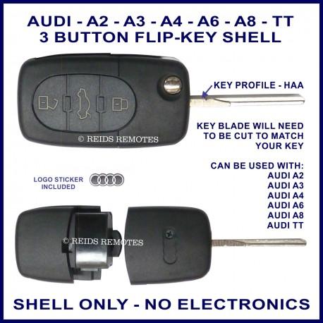 Audi A2 A3 A4 A6 A8 & TT - 3 button flip key shell - no electronics
