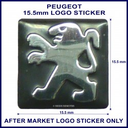 Peugeot 15.5 mm x 15.5 mm logo sticker for use on flip keys