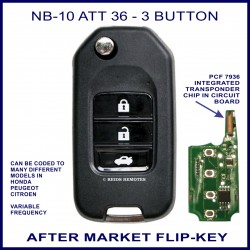 NB10 - ATT 36 - 3 button flip key with integrated PCF7936 transponder chip
